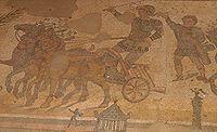 Mosa�que romaine d'une course de char, Sicile, IIIe/IVe si�cle