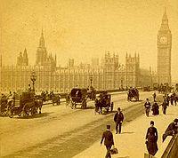 Le Palais de Westminster vu depuis l'ancien pont de Westminster dans les années 1890