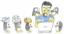 Dessin représentant un homme à son ordinateur entouré de manchots