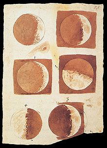 Phases de la lune dessin�es par Galil�e en 1616.