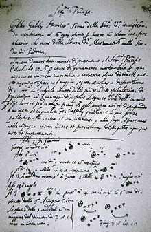 Notes manuscrites historiques ou Galilée décrit pour la première fois sa decouverte des lunes de Jupiter en 1610.