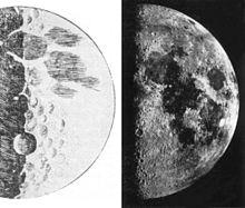 Dessin de la lune par Galil�e, publi� dans