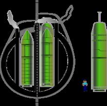 Missiles M45 et M51 dans des coques de SNLE (type Le Redoutable, à gauche) et de SNLE-NG (type Le Triomphant, au milieu)