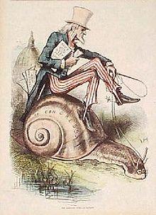 Gravure ancienne représentant un homme âgé vétu des couleurs de l'amérique, tenant un document et chevauchant un escargot