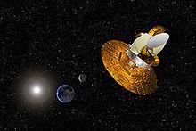 Vision d'artiste du satellite WMAP collectant les donn�es afin d'aider les scientifiques � comprendre le Big Bang
