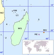 • 1: Bassas da India • 2: Europa • 3: Îles Glorieuses • 4: Juan de Nova • 5: Tromelin