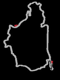 La Nordschleife - 22,810 kmLocalisation du tracé F1 en bas à droite