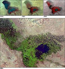 Réduction du lac Tchad, un bassin endoréique.