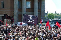 Manifestation de Stockholm contre la saisie des serveurs, le 3 juin, 2006.