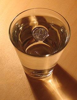 La tension superficielle permet à un peng? hongrois de ne pas couler au fond du verre d'eau
