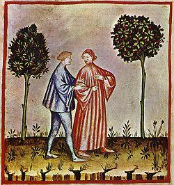 Marcher, tacuinum sanitatis casanatensis (XIVesiècle)