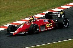 Michele Alboreto lors de son succès au GP d'Allemagne 1985 sur le Nurburgring.