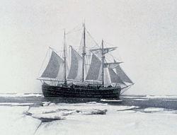 Le Fram en Antarctique lors de l'expédition Amundsen.