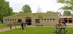 Toiture extensive de sédums, Centre d'interprétation de la Nature, Parc national du Biesbosch, Pays-Bas)