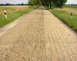 Le matériau retenu contribue à l'empreinte écologique de la route, mais finalement bien moins que la pollution émise par les véhicules (ici Route Päwesin-Riewend pavée de briques, dans le Brandenburg, Allemagne)