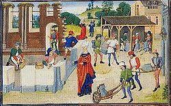 Chantier de construction de la basilique Sainte-Marie-Madeleine de Vézelay illustré entre 1448 et 1465.