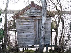 Cabane de pêcheur, estuaire de la Gironde (Sud-Ouest de la France)