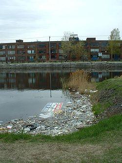 Déchets dans le canal de Lachine à Montréal