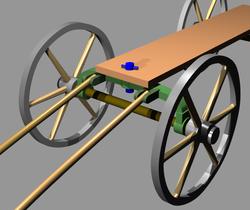En bleu: la cheville ouvrière d'un chariot hippomobile