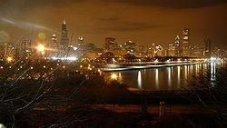 Chicago-centre de nuit, depuis l'Aquarium John G. Shedd