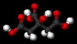Formule semi-développée et représentation 3D de l'acide citrique.