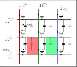 Schéma électrique équivalent; le pixel inférieur est affiché jaune