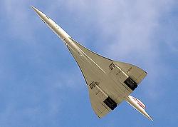 Un Concorde montrant son aile en ogive, dérivée de l'aile delta