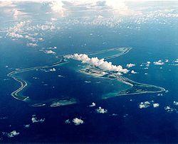 Vue aérienne de la base militaire de Diego Garcia.