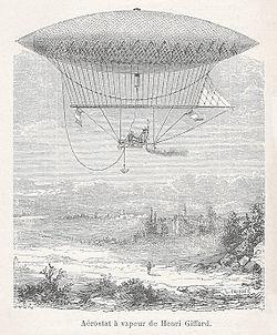Le dirigeable à vapeur de Henri Giffard.