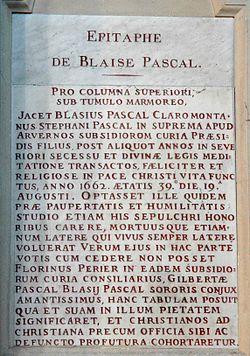 Épitaphe de Pascal dans l'église Saint-Étienne-du-Mont, 5e arrondissement de Paris