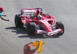 Massa célébrant sa victoire lors de son Grand Prix national en 2006.