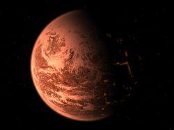 Vue d'artiste de Gliese 876 d.