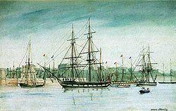 HMS Beagle (centre) par Owen Stanley (1841)