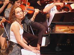 En répétition au festival de La Roque-d'Anthéron, 2004