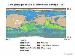 Carte de la r�partition de l'h�matite grise sur Mars d'apr�s les mesures du spectroscope thermique TES de la sonde Mars Global Surveyor. La zone rouge au centre de la carte, o� se trouve le site d'atterrissage du rover Opportunity, montre une forte concentration d'h�matite.