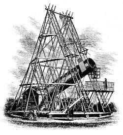 Gravure représentant le télescope d'Herschel de 40 pieds de focale