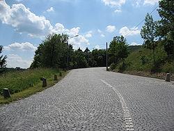 Route pavée moderne entre Cobenzl et Kahlenberg