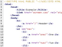 Coloration syntaxique sur un document HTML dans Bluefish.