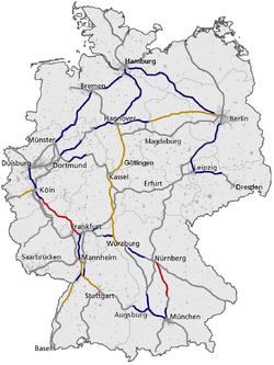Le réseau ferré des lignes ICE en Allemagne  Rouge: LGV à 300 km/h  Orange: LGV à 250 km/h ou plus Bleu: Ligne à 200 km/h ou plus Gris: Ligne classique, parfois modifiée pour aller à 160 km/h