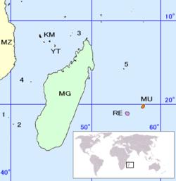 Position des îles éparses: le point n° 5 correspond à Tromelin