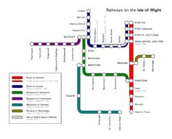 Réseau de l'île de Wight. Seule la ligne Ryde-Shanklin (en rouge) est en exploitation.