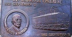 Plaque commémorative de Kálmán Kandó à Budapest