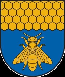 Abeille (ici sur le blason de Viļāni, Lettonie).