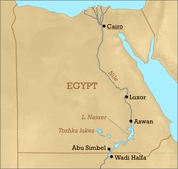 Assouan sur le Nil au nord du lac Nasser
