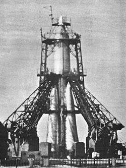 La R-7 sur son aire de lancement