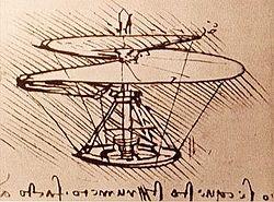 Dessin de Vis aérienne de Léonard de Vinci (machine volante à voilure tournante)