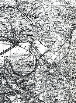 La ligne du Sud-Ouest donna lieu à de nombreux projets; ici, deux tracés de ligne avec franchissement de la Seine par tunnel (en aval), un troisième par viaduc plus en amont