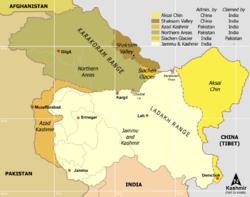 Le Cachemire est revendiqué par l'Union indienne, le Pakistan et la République Populaire de Chine.