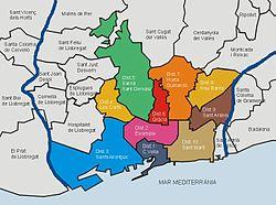 Carte des districts de Barcelone