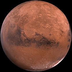 Mars vue par les sondes Viking en 1980.